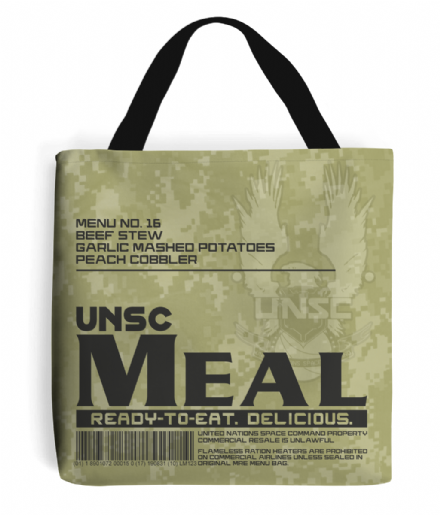 UNSC MRE Meal Ready to Eat Menu 16 Tote Shopping Bag inspired by Halo